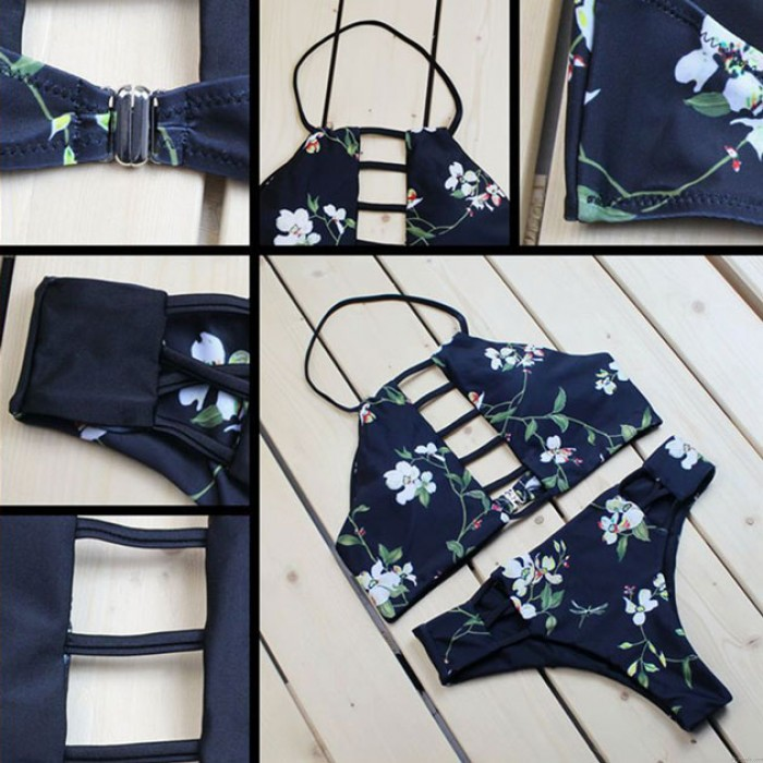 Bikini de vendaje de color azul oscuro para mujer, traje de baño de Split de impresión