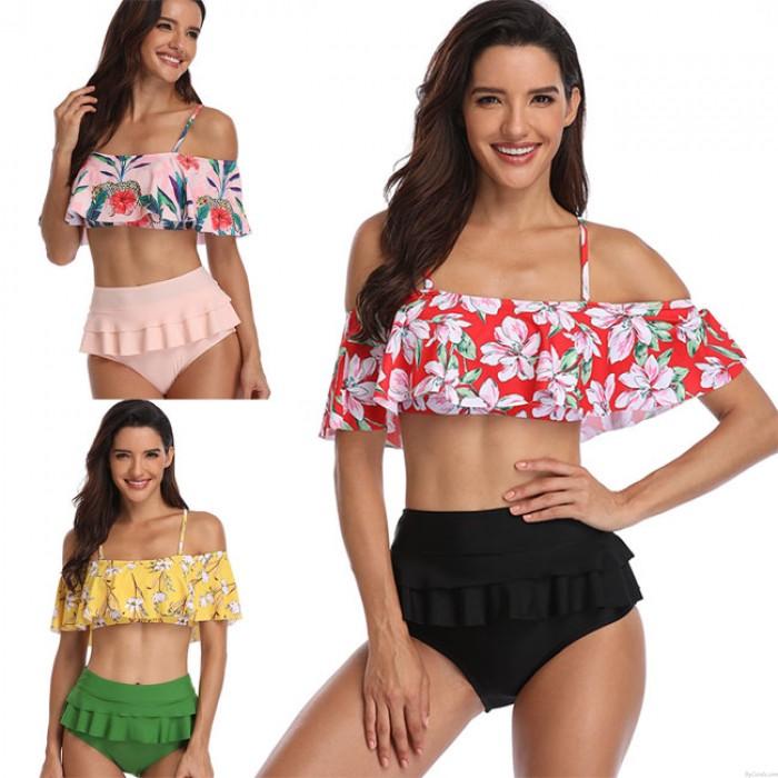 Bikinis de cintura alta con volantes en verano Traje de baño de flores Hojas altas