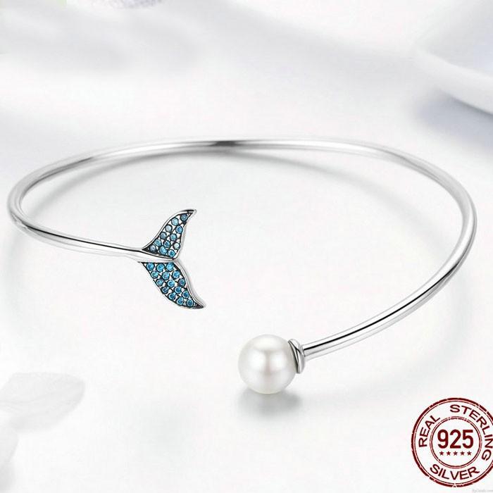 Sirena linda Lágrima perla Diamante Pulsera abierta de plata para mujer