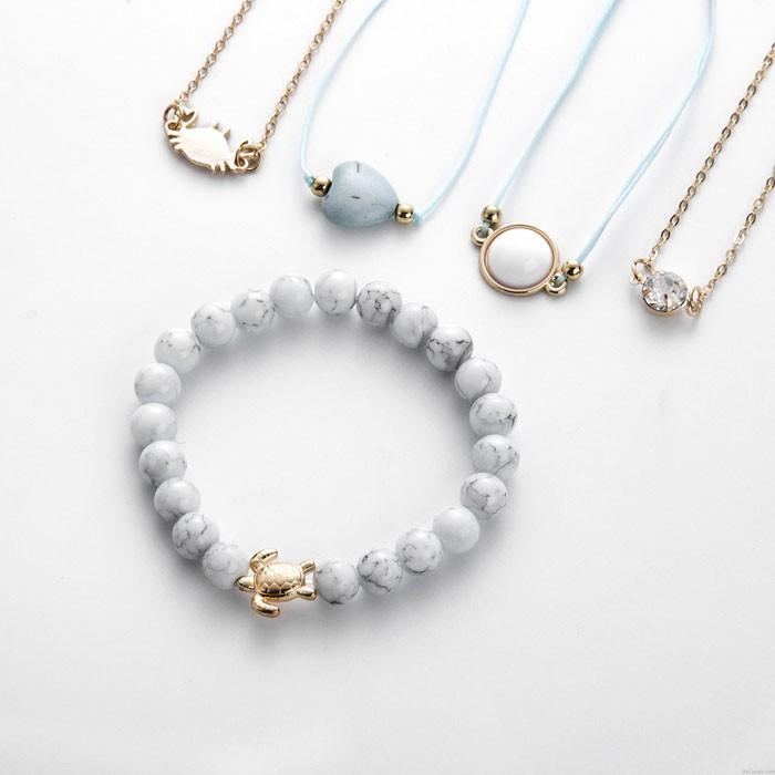 Personalidad Tortuga Cangrejo Love Beads Turquesa Conjunto de cinco piezas Pulsera