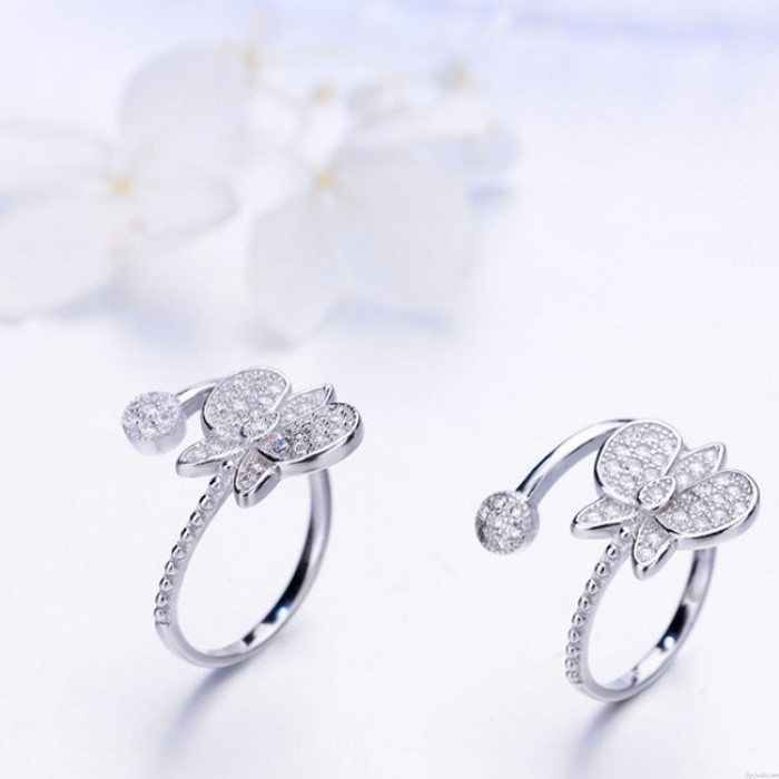 Anillo abierto ajustable del diamante de la mariposa de plata linda del diseño