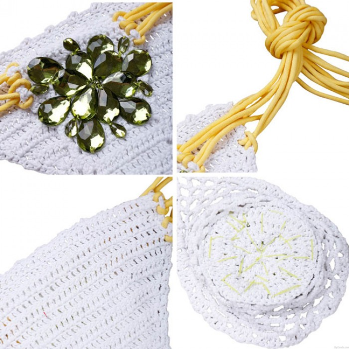 Trajes de baño Sexy Chain-cargado Trajes de baño de las mujeres de punto Bikini con borde de diamantes