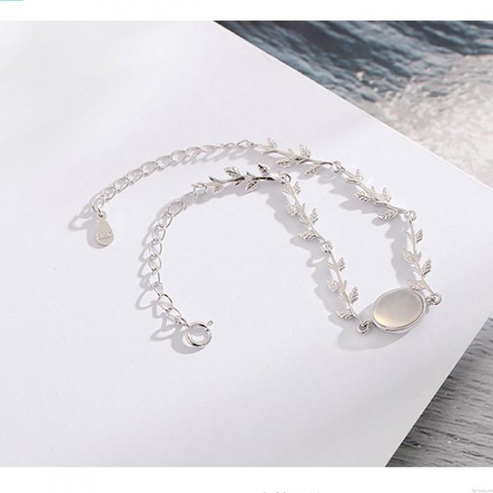 Amante único presente novia regalo mujeres pulsera Moonstone hojas plata pulsera