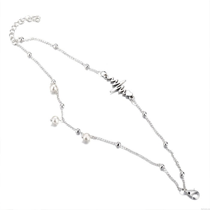 Tobillera de tela simple retro perla plata Conjunto de corazón de ECG Set de 2 piezas Ajorca para el tobillo