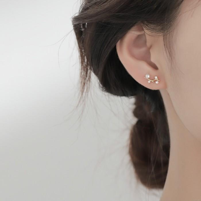 Pendientes de perlas de rama linda Pendientes de cristal de perlas de estudiante Pendientes de botón
