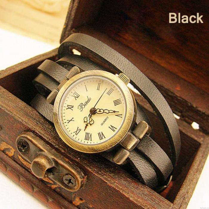 Moda Vintage Estilo Multi-envoltura Cinturón delgado Retro Reloj púrpura