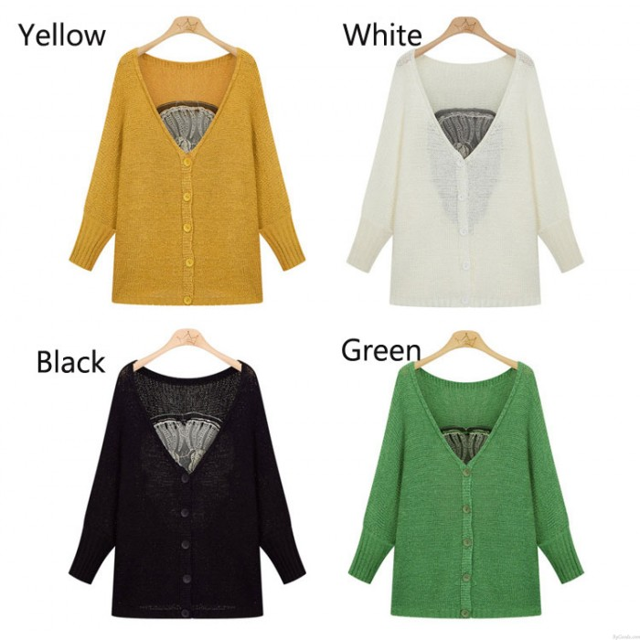 Fashion Skull Embroidered Hollow Out Bat Sleeve Sweater&Cardigan