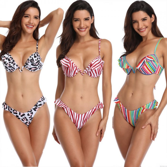 Nuevo Volante fruncido Raya Vistoso Leopardo Traje de baño Honda Mujer Verano Bikinis