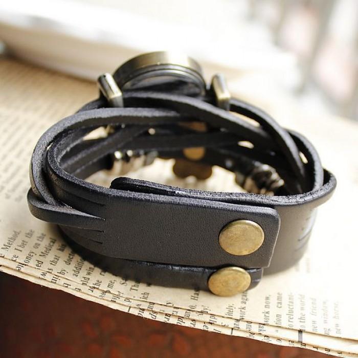 Retro Weave Sunflower Bracelet Watch