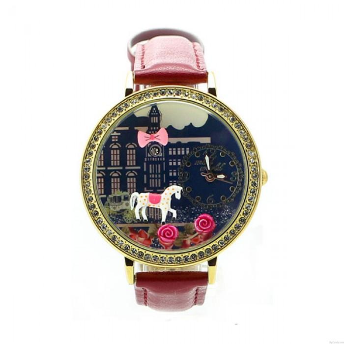 Linda Caballo Rosa Dibujos animados Diamante de imitación Cuero dama Reloj
