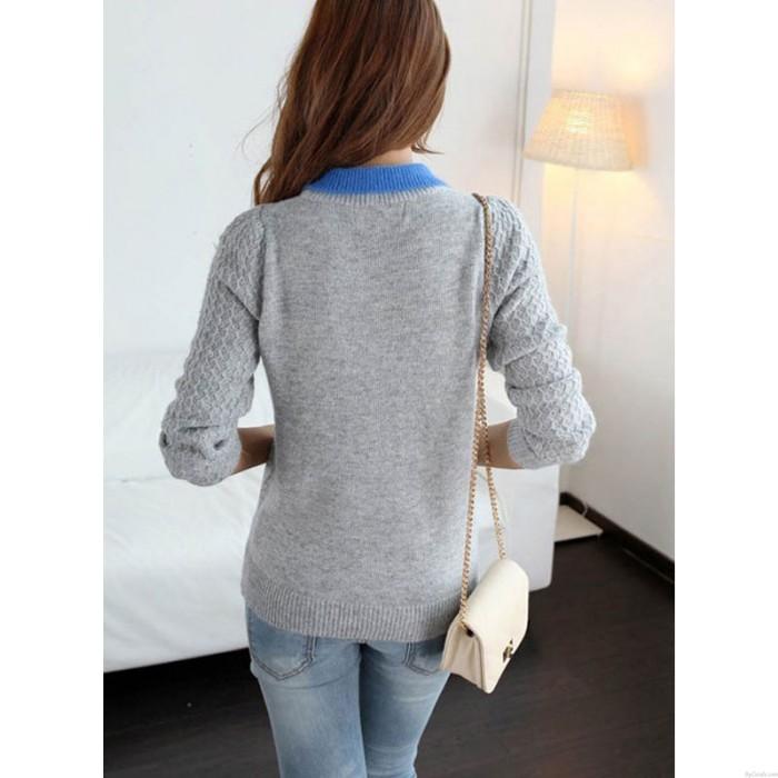 New Sweet Gray Lapel Twist Sleeve Loose Sweater&Cardigan