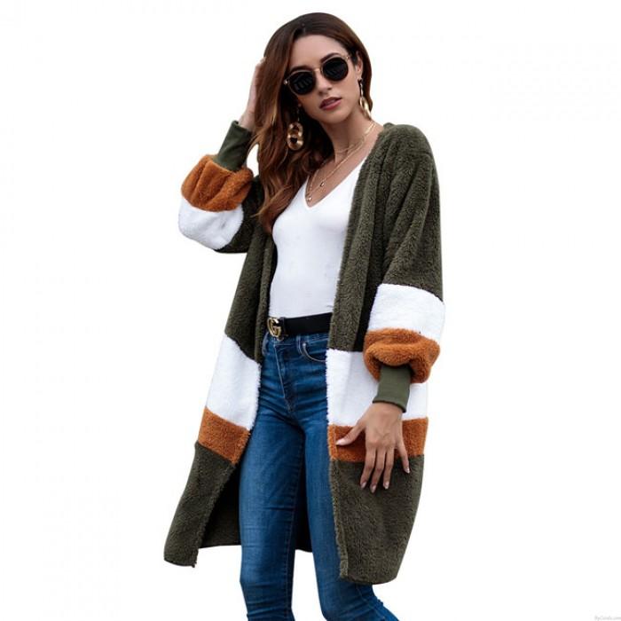 Ocio cálido terciopelo suelto largo suéter mujer rayas larga chaqueta de punto otoño