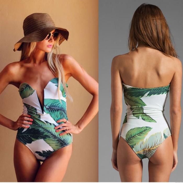 Bra Banana Leaf Print Bikinis Siameses Traje de baño único con cuello en V