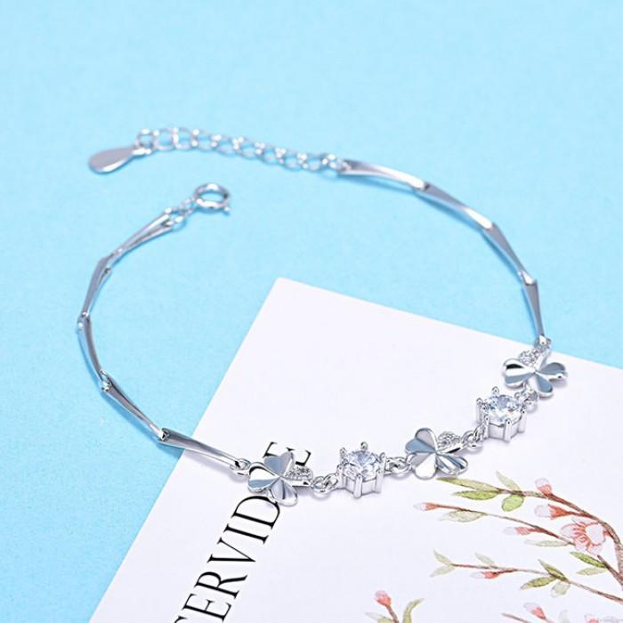 Dulce trébol de cuatro hojas amatista novia regalo flor plata pulsera de las mujeres