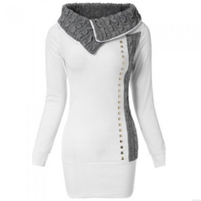 Elegante blanco empalme remache manga larga solapa vestido de mujer