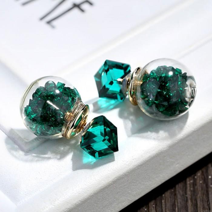 Vistoso Cristal Burbuja Transparente Pelota Mujer Aretes Studs