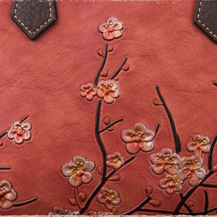 Retro Original Rama de cuero 3D Ciruela Flor Bolso Señora Bolso de hombro