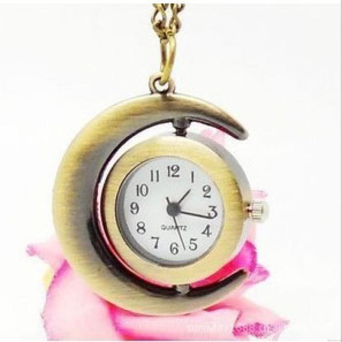 Regalo de Navidad popular Moon Star Cruz reloj de bolsillo / colgante / collar