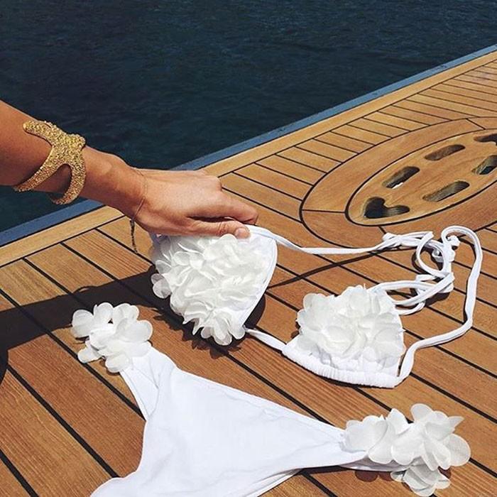 Moda 3D pétalos de flores traje de baño de verano para mujer Bikinis calientes