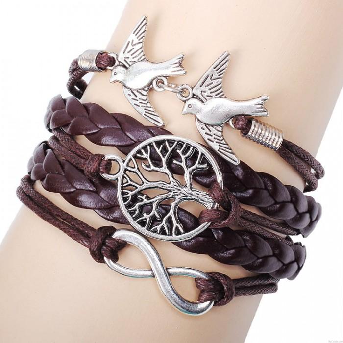 Unique Life Tree Pigeons Infinity Bracelet