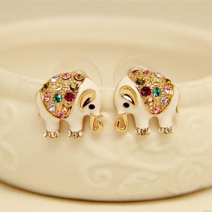 Linda Elefante Bling De colores Diamante Aretes