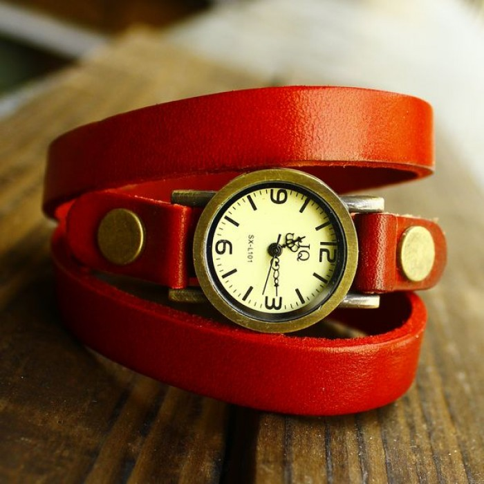 Retro and Fashion Wrap Handmade Leather Bracelet Watch