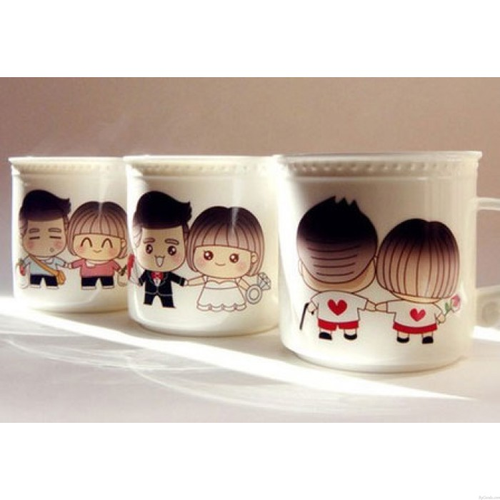 Taza de cerámica de regalo de cumpleaños descolorida de pareja vieja