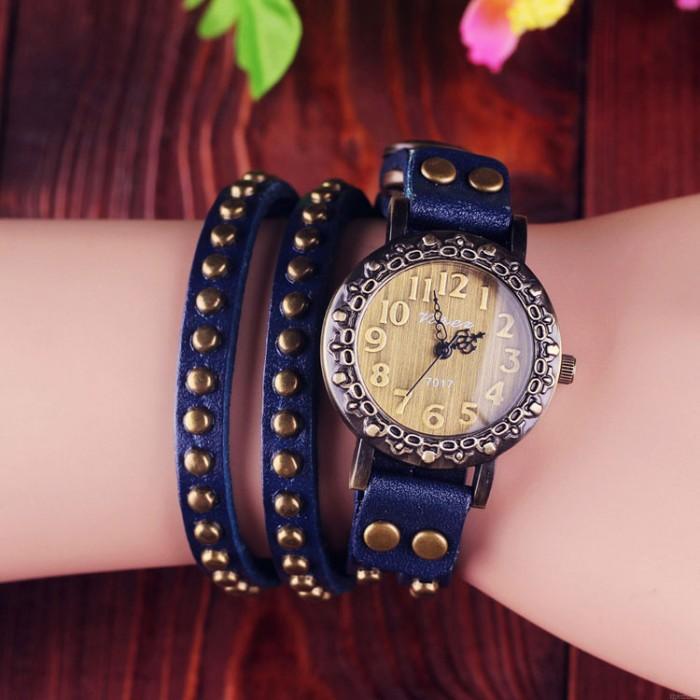Retro Rivet Wrap Bracelet Watch