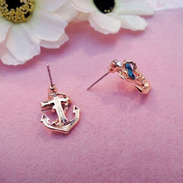 Linda Diamante de imitación Océano Marina de guerra Dorado Marinero Ancla Aretes