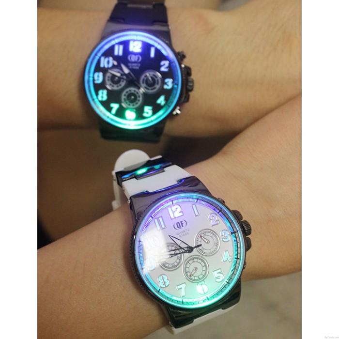 Reloj de cuarzo de estudiante de silicona luminosa única