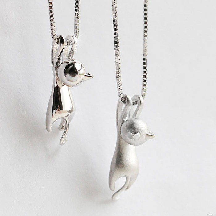 Travieso Libra esterlina Plata Gatito Balanceo Colgante Linda Animales Collar