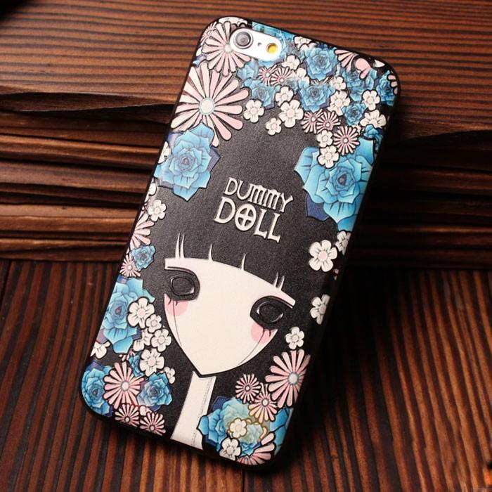 Cajas suaves del silicón de Tiger Owl Flower Girl para Iphone 5 / 5S / 6 / 6S