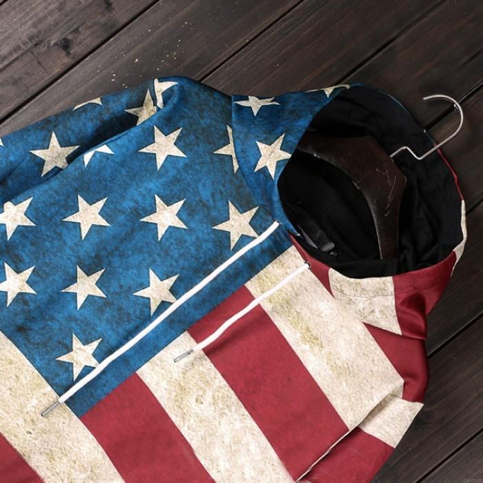 Chaqueta con capucha retro de la bandera de los EEUU de las estrellas Chaqueta con capucha de las señoras de la raya de las señoras ocasionales