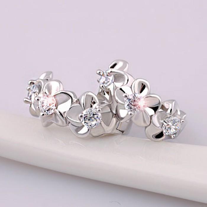 Noble Flores Embutido Cristal Libra esterlina Plata Elegante Círculo Aretes