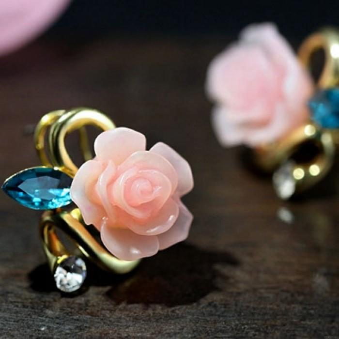 Blanco Rosa Zafiro Diamante Dorado dama Elegante Pendiente pernos prisioneros