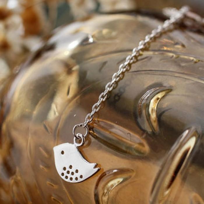 pájaro hojas junto hueco Durante elegante libra esterlina plata collar