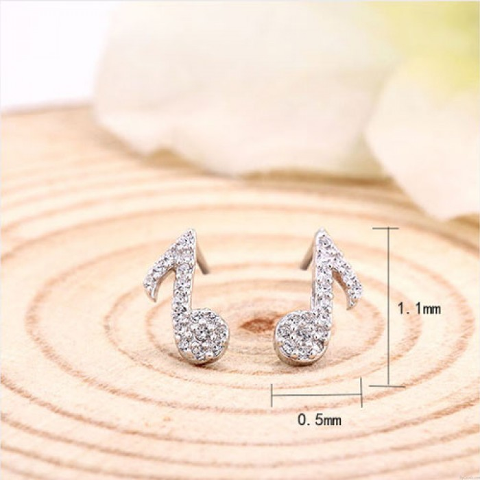 Libra esterlina Plata Elegante Música Nota Brillante Diamante dama Aretes