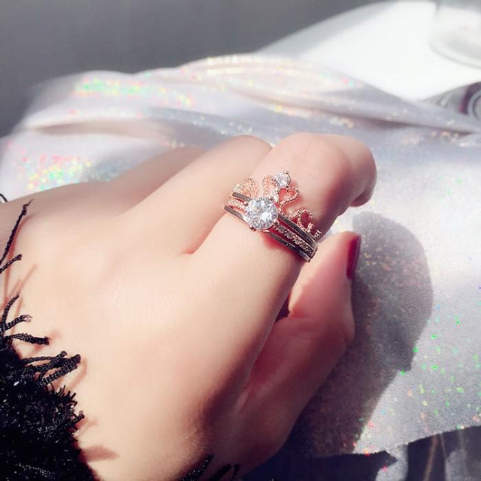 Anillo doble ajustable de plata del diamante de la mujer del diseño de la corona