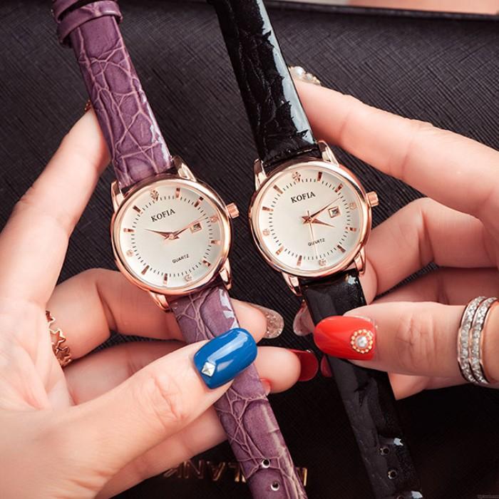 Reloj elegante del cuarzo del calendario del diamante impermeable de las mujeres de Cortical