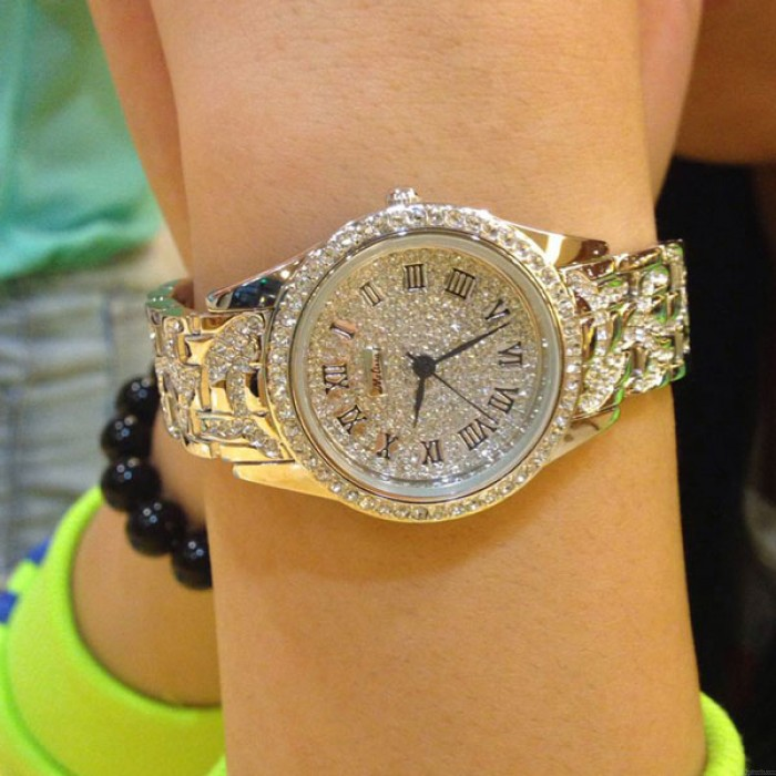 Reloj de cuarzo de lujo con diamantes de imitación de lujo