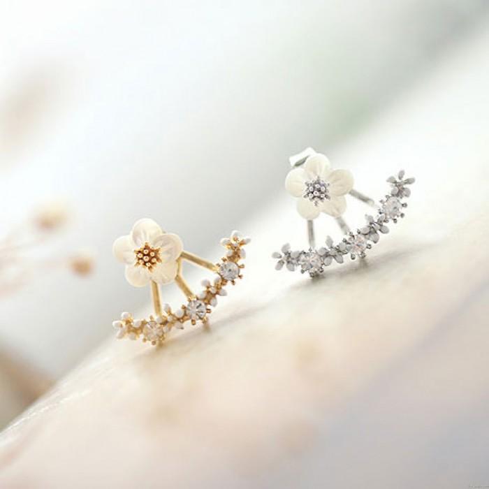 Fresco Dorado Ancla en forma de Joya Flores Diamante Plata Aguja Aretes