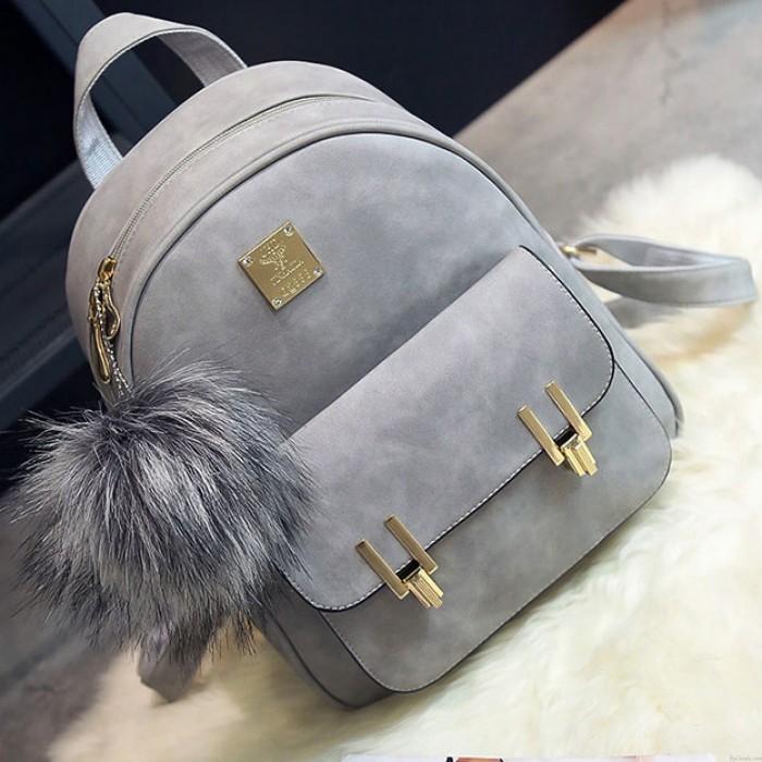 Moda Frosted PU Zippered mochila con Metal Lock Match Escuela Bolsa Mochila