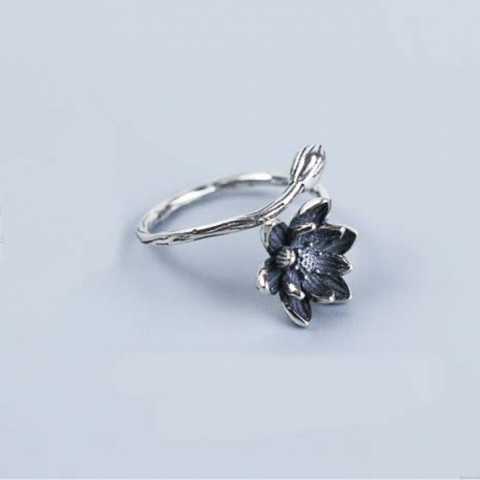 Vivid Stereo Vivid Stereo Flower Old Old Silver anillo abierto