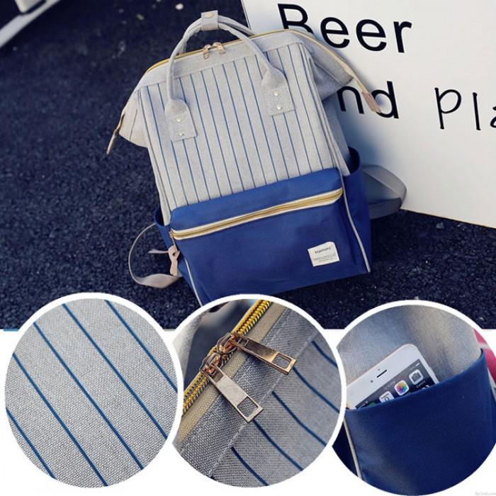 Bolsa cuadrada impermeable de rayas cuadradas para laptop Mochila multifuncional de lona para escuelas de viajes