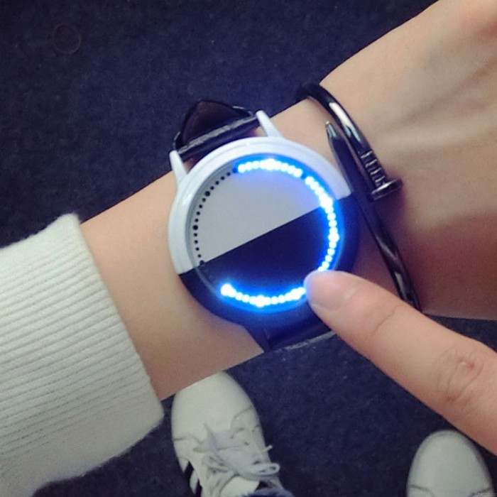 Moda LED luz de la pantalla táctil Dial Dial impermeable negro blanco Life Tree simple reloj elegante