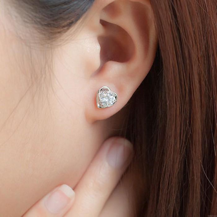 Encantador Morado Diamante Circón Elegante En forma de corazón Plata Aretes