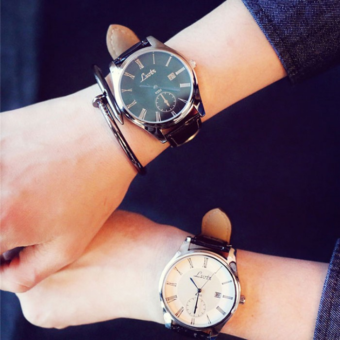 Moda Simple Big Dial Student Leisure Couple Ultra-delgado impermeable hombre reloj de cuarzo