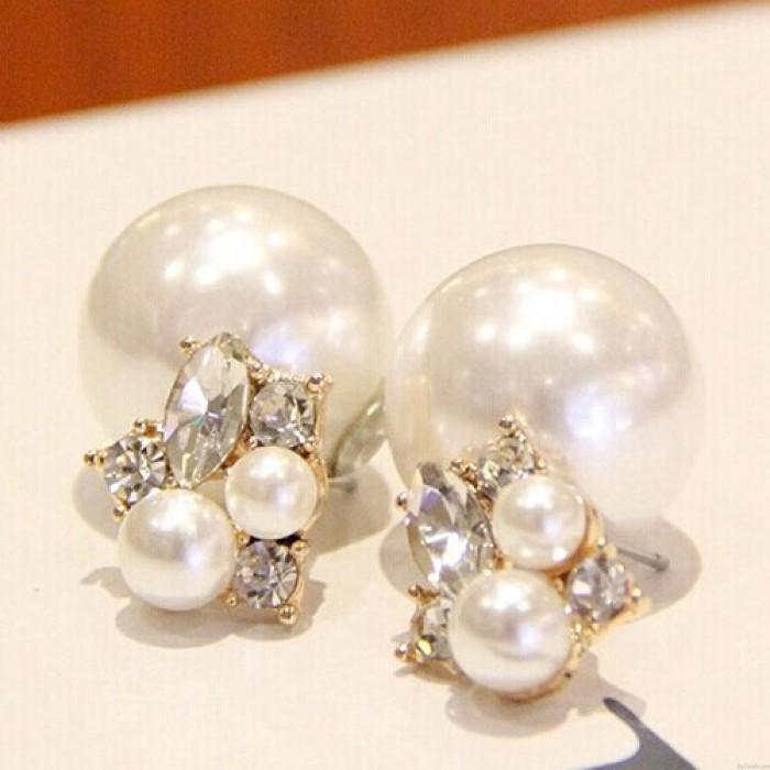 Dulce Señoras Perla Diamante Piezas Brillante Dual Aretes