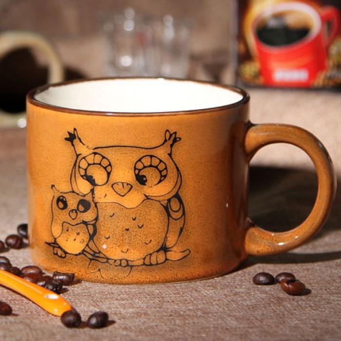 Taza de cerámica / taza de café pintadas a mano de la personalidad retra