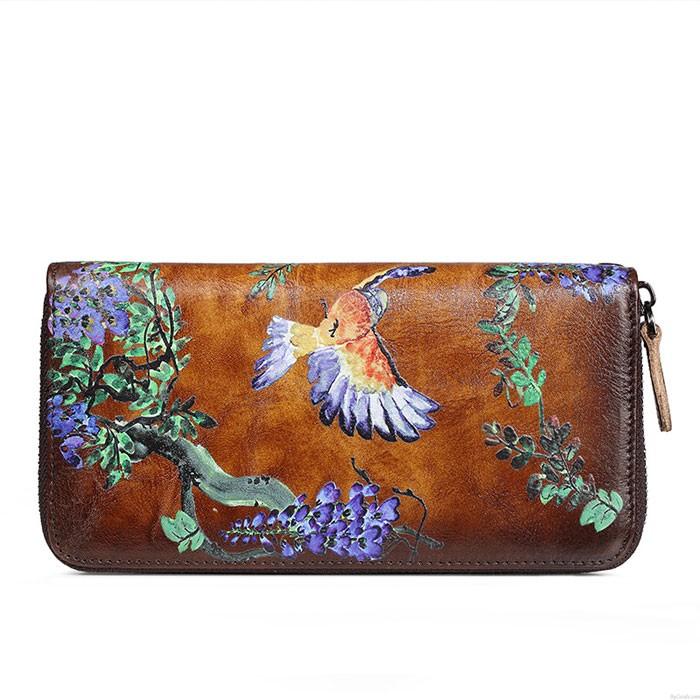 Monedero en relieve original de la rama de la flor del pájaro de la vendimia Bolso de embrague simple del teléfono de la cremallera Cartera larga grande